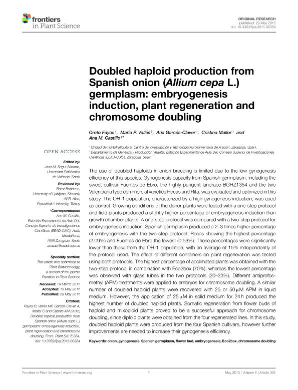 Doubled haploid production from Spanish onion (Allium cepa L.) germplasm: Embryogenesis induction, plant regeneration and chromosome doubling