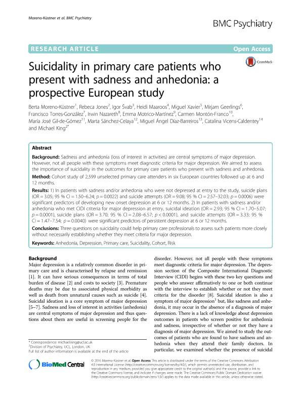 Suicidality in primary care patients who present with sadness and anhedonia: A prospective European study