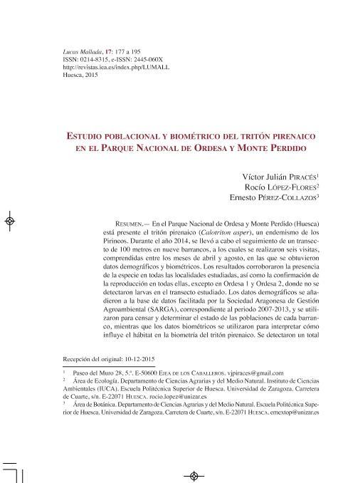 Estudio poblacional y biométrico de tritón pirenaico en el Parque Nacional de Ordesa y Monte Perdido