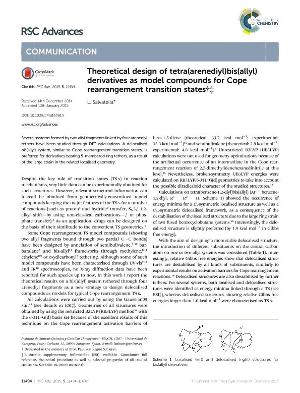 Theoretical design of tetra(arenediyl)bis(allyl) derivatives as model compounds for Cope rearrangement transition states