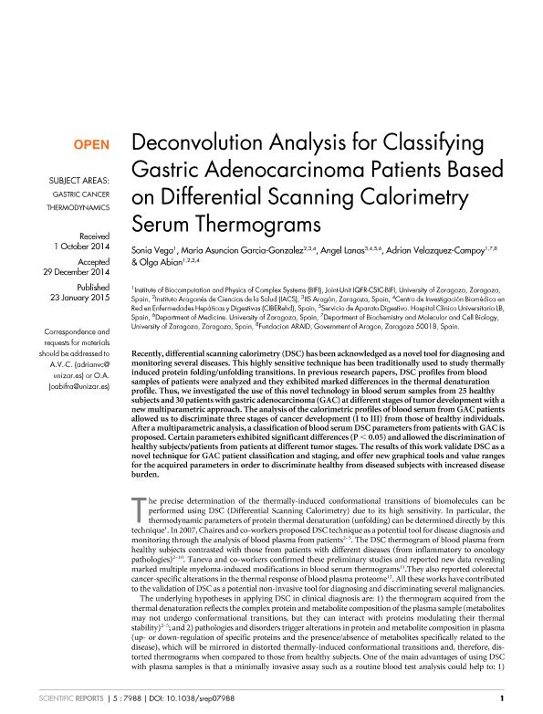 Deconvolution analysis for classifying gastric adenocarcinoma patients based on differential scanning calorimetry serum thermograms