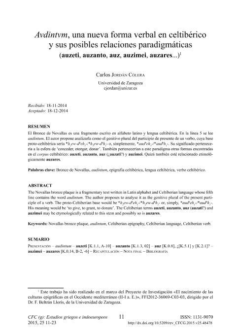 Avdintvm, una nueva forma verbal en celtibérico y sus posibles relaciones paradigmáticas (Auzeti, auzanto, auz, auzimei, auzares...)