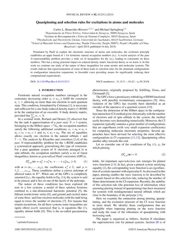 Quasipinning and selection rules for excitations in atoms and molecules