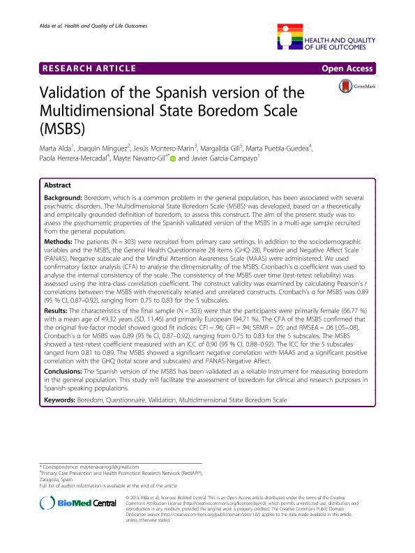 Validation of the Spanish version of the Multidimensional State Boredom Scale (MSBS)