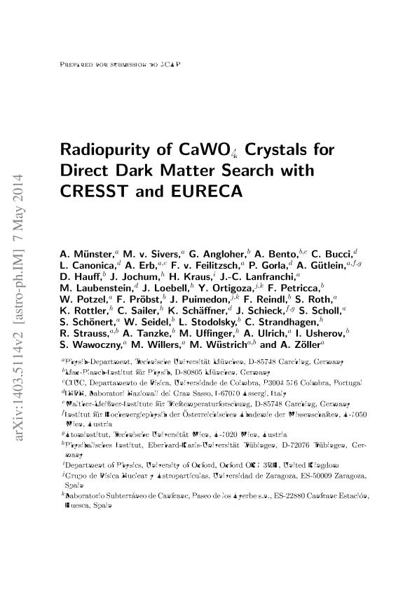 Radiopurity of CaWO4 crystals for direct dark matter search with CRESST and EURECA