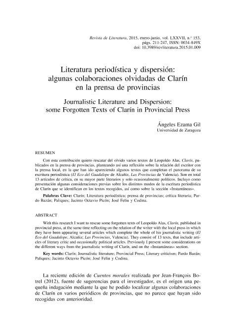 Literatura periódica y dispersión: algunas colaboraciones olvidadas de Clarín en la prensa de provincias