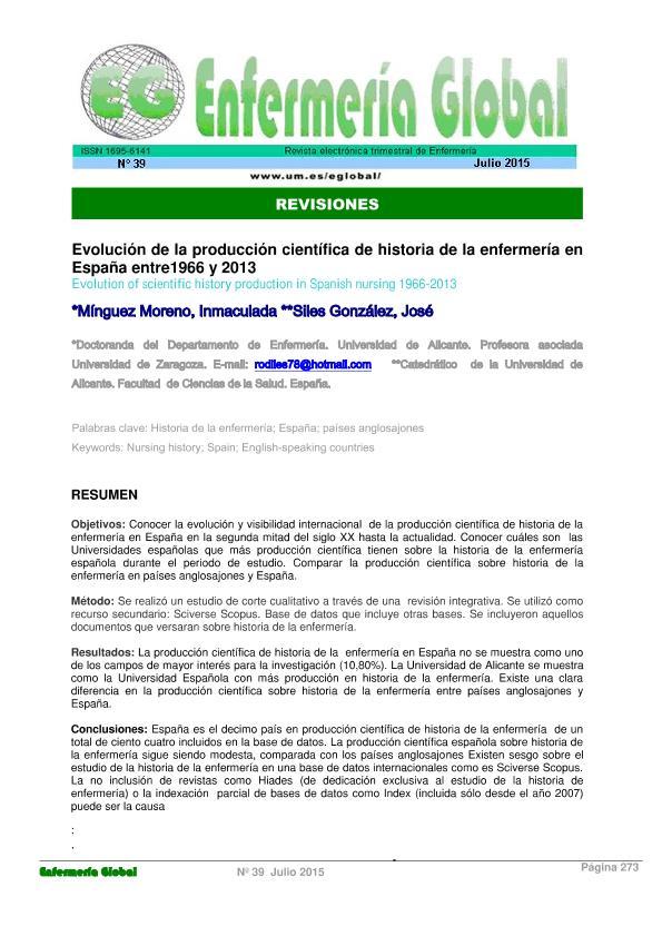 Evolución de la producción científica de historia de la enfermería en España entre1966 y 2013