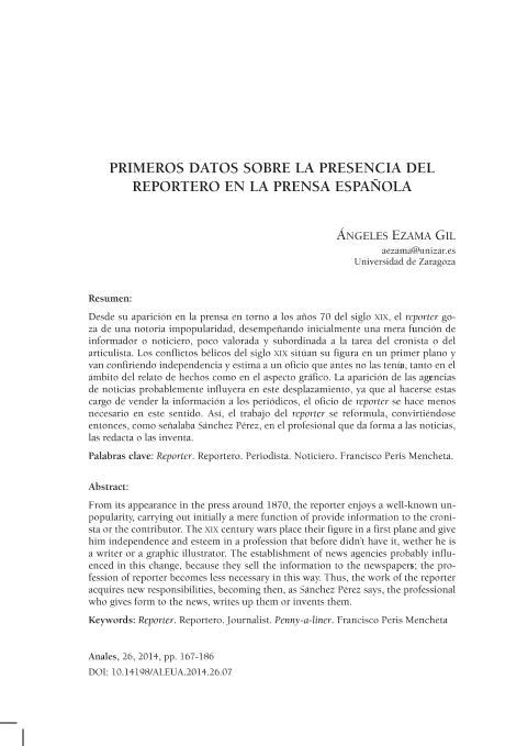 Primeros datos sobre la presencia del reportero en la prensa española