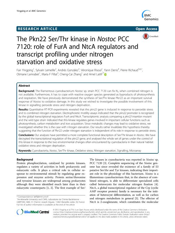 The Pkn22 Ser/Thr kinase in Nostoc PCC 7120: Role of FurA and NtcA regulators and transcript profiling under nitrogen starvation and oxidative stress