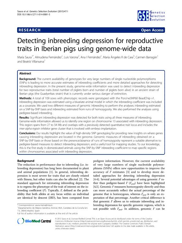 Detecting inbreeding depression for reproductive traits in Iberian pigs using genome-wide data