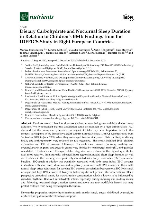 Dietary carbohydrate and nocturnal sleep duration in relation to children's BMI: Findings from the idefics study in eight european countries