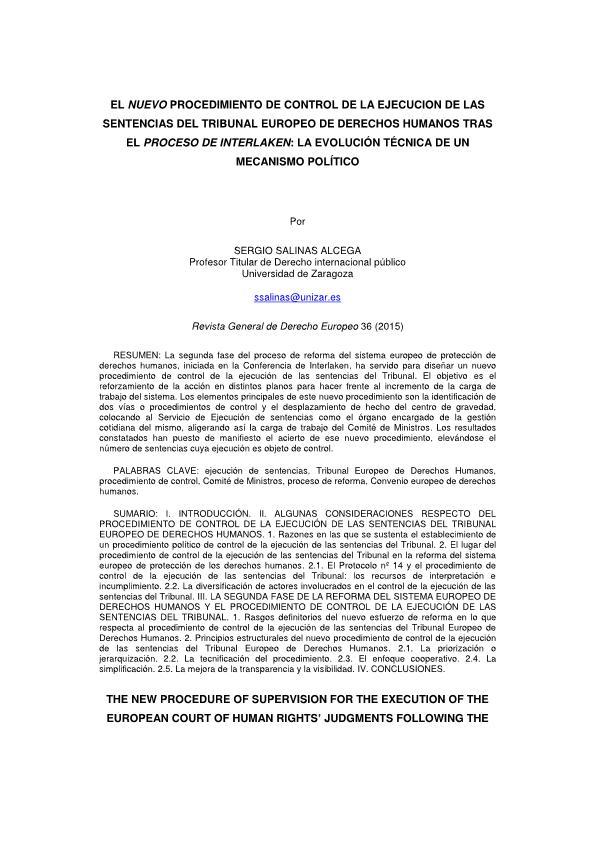 El nuevo procedimiento de control de la ejecución de las sentencias del Tribunal Europeo de Derechos Humanos tras el Proceso de Interlaken: la evolución técnica de un mecanismo político