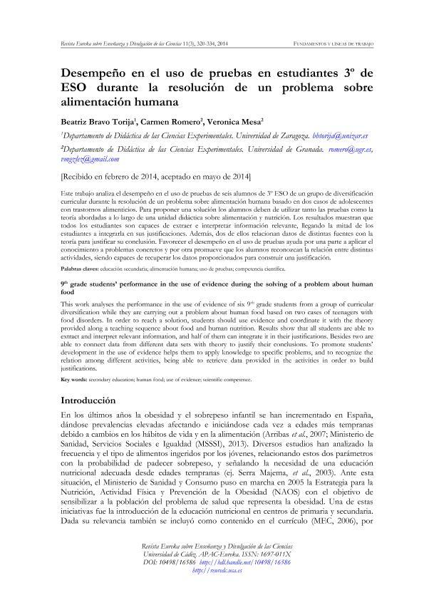 Desempeño en el uso de pruebas en estudiantes 3º de ESO durante la resolución de un problema sobre alimentación humana