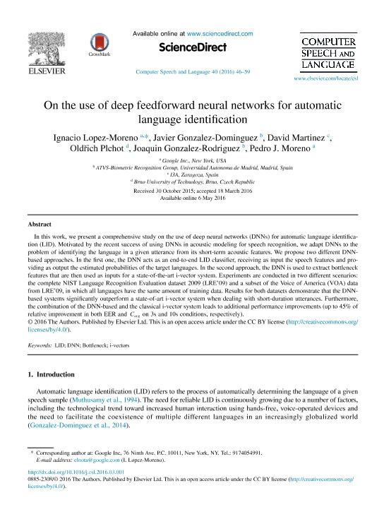 On the Use of Deep Feedforward Neural Networks for Automatic Language Identification