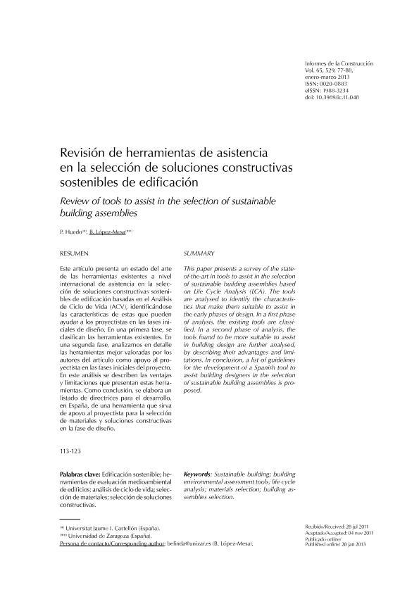 Revisión de herramientas de asistencia en la selección de soluciones constructivas sostenibles de edificación