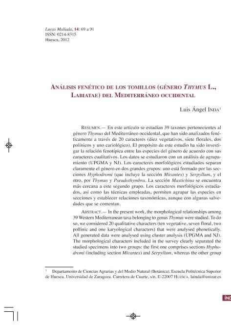 Análisis fenético de los tomillos (género Thymus L., Labiatae) del Mediterráneo occidental