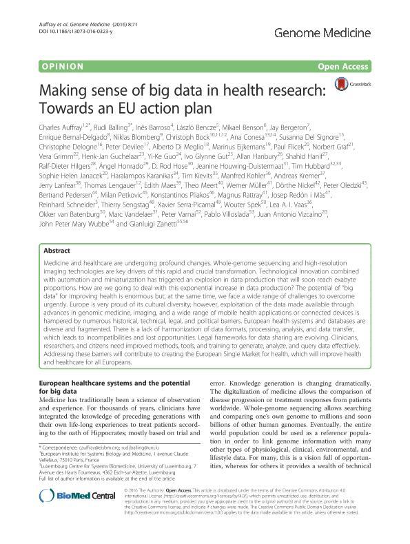 Making sense of big data in health research: Towards an EU action plan