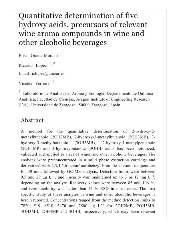 Quantitative determination of five hydroxy acids, precursors of relevant wine aroma compounds in wine and other alcoholic beverages