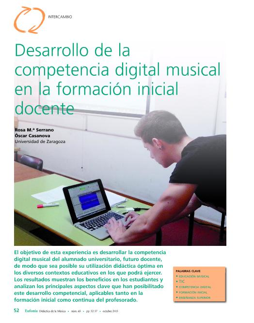 Desarrollo de la competencia digital musical en la formación inicial docente