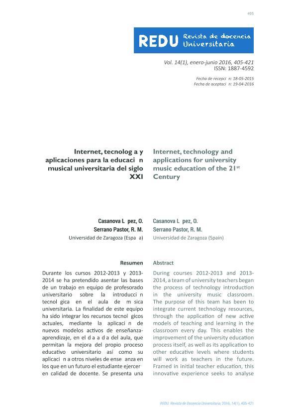 Internet, tecnología y aplicaciones para la educación musical universitaria del siglo XXI