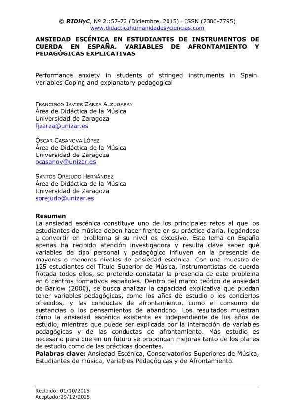 Ansiedad escénica en estudiantes de instrumentos de cuerda en España. Variables de afrontamiento y pedagógicas explicativas