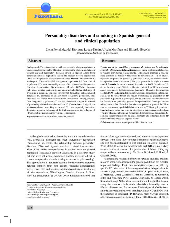 Personality disorders and smoking in Spanish general and clinical population