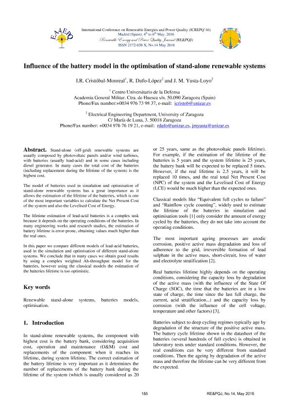 Influence of the battery model in the optimisation of stand-alone renewable systems