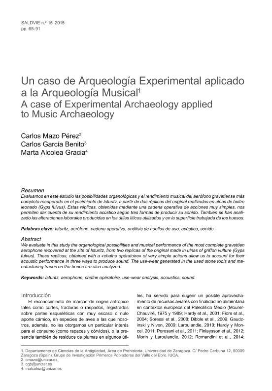 Un caso de Arqueología Experimental aplicado a la Arqueología Musical