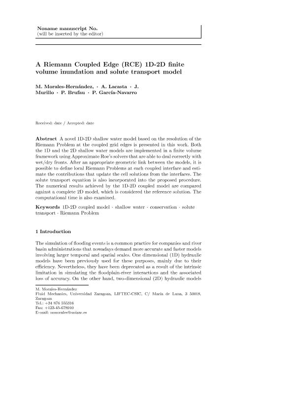 A Riemann coupled edge (RCE) 1D–2D finite volume inundation and solute transport model