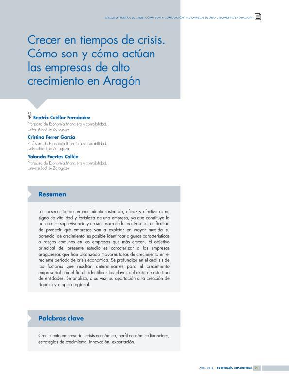 Crecer en tiempos de crisis. Cómo son y cómo actúan las empresas de alto crecimiento en Aragón