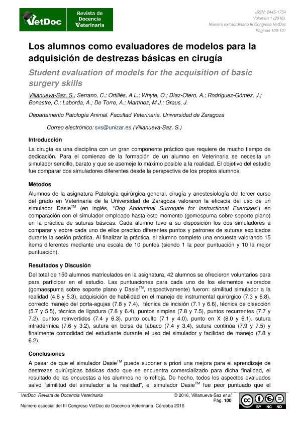 Los alumnos como evaluadores de modelos para la adquisición de destrezas básicas en cirugía