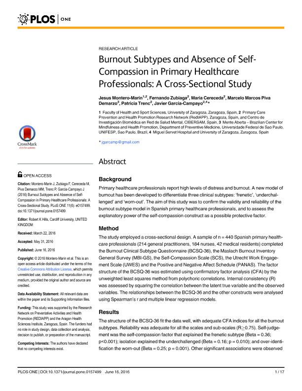 Burnout subtypes and absence of self-compassion in primary healthcare professionals: A cross-sectional study