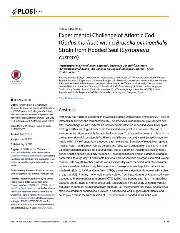 Experimental challenge of atlantic cod (Gadus morhua) with a brucella pinnipedialis strain from hooded seal (Cystophora cristata)