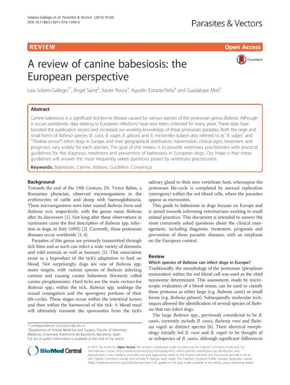 A review of canine babesiosis: The European perspective