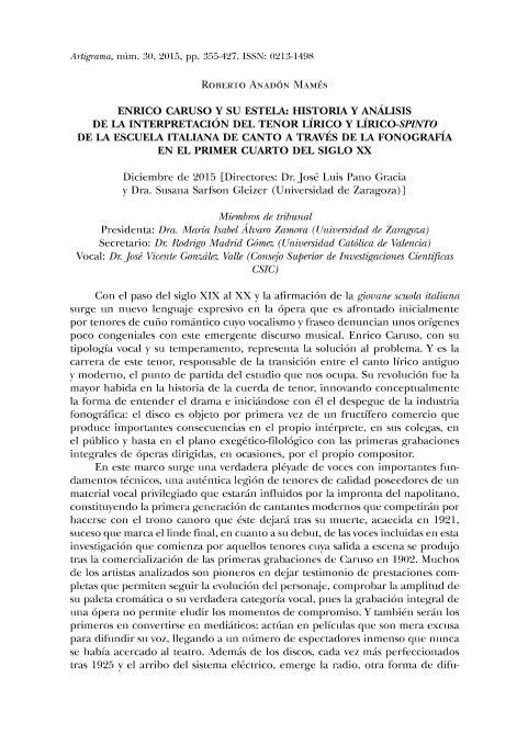 Enrico Caruso y su estela: Historia y análisis de la interpretación del tenor lírico y lírico-spinto de la escuela italiana de canto a través de la fonografía en el primer cuarto del siglo XX