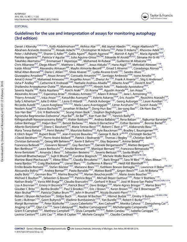 Guidelines for the use and interpretation of assays for monitoring autophagy (2nd edition)