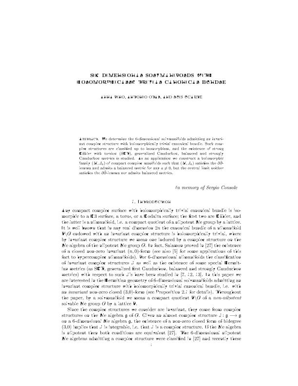 Six-Dimensional Solvmanifolds with Holomorphically Trivial Canonical Bundle