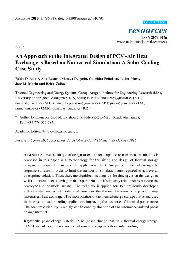 An approach to the integrated design of PCM-air heat exchangers based on numerical simulation: a solar cooling case study