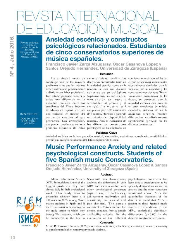 Ansiedad escénica y constructos psicológicos relacionados. Estudiantes de cinco conservatorios superiores de música españoles