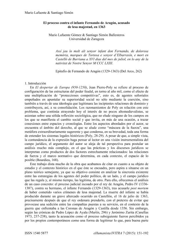 El proceso contra el infante Fernando de Aragón, acusado de lesa majestad, en 1363