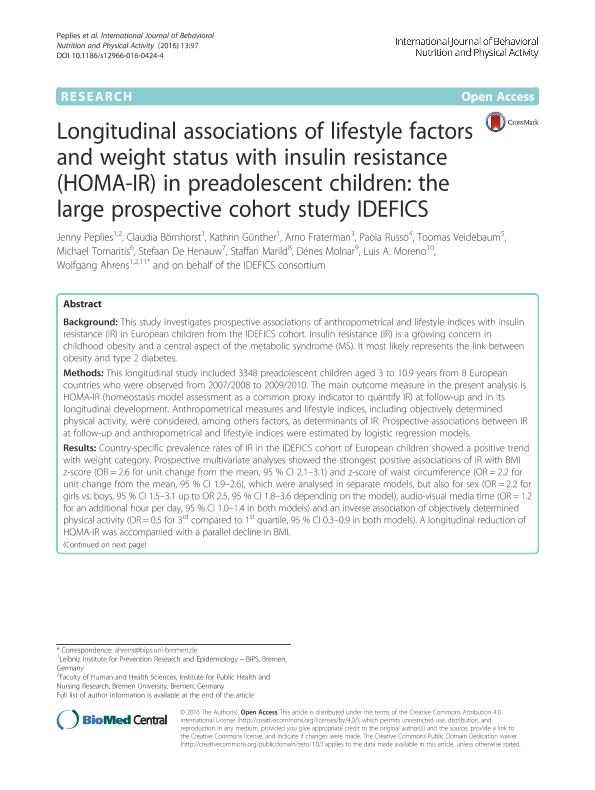 Longitudinal associations of lifestyle factors and weight status with insulin resistance (HOMA-IR) in preadolescent children: The large prospective cohort study IDEFICS