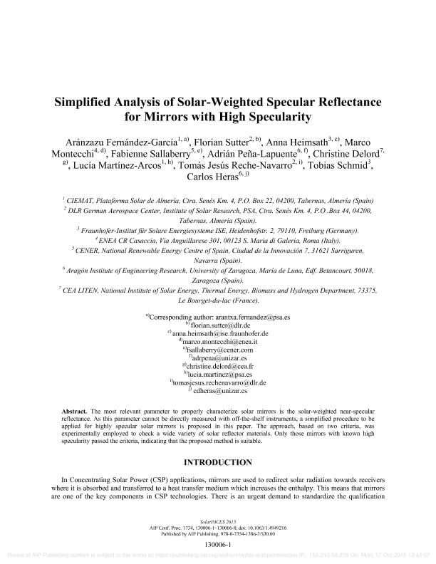 Simplified analysis of solar-weighted specular reflectance for mirrors with high specularity