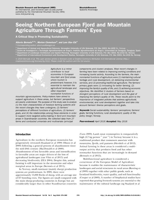 Seeing northern european fjord and mountain agriculture through farmers' eyes