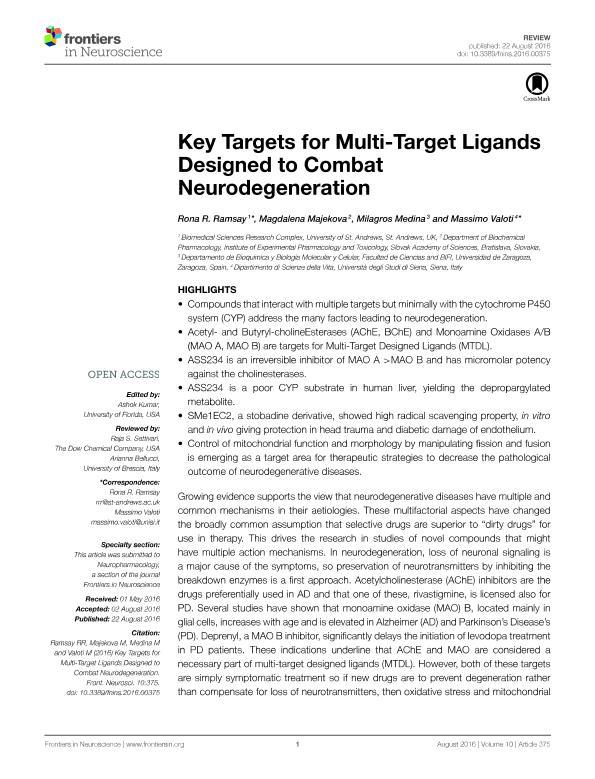 Key targets for multi-target ligands designed to combat neurodegeneration