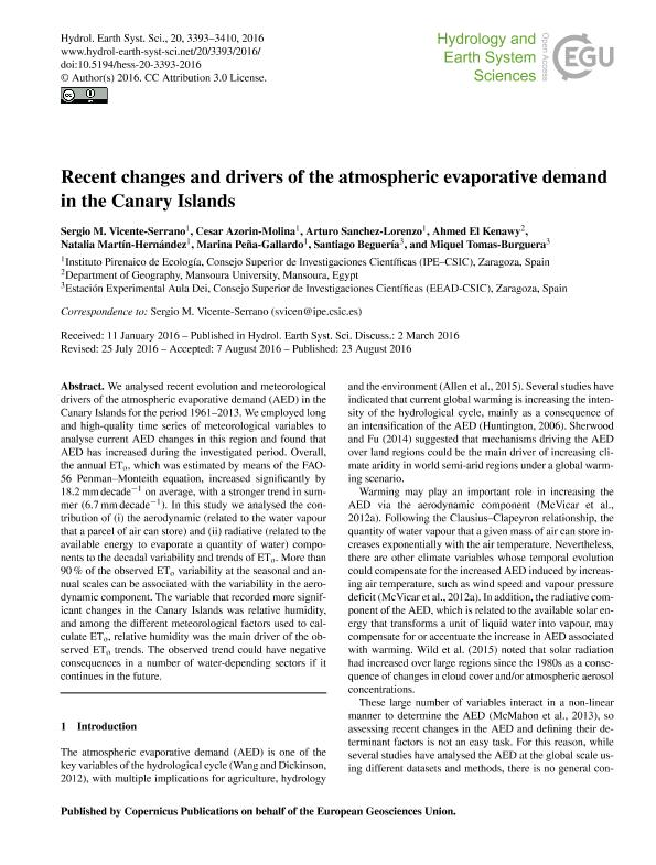 Recent changes and drivers of the atmospheric evaporative demand in the Canary Islands