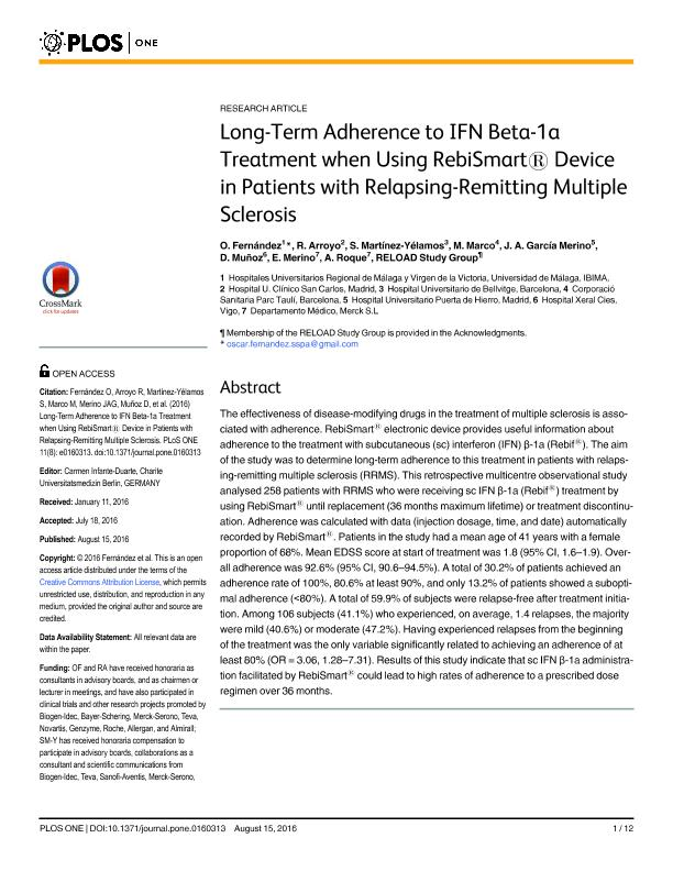 Long-term adherence to IFN beta-1a treatment when using rebismart1device in patients with relapsing-remitting multiple sclerosis