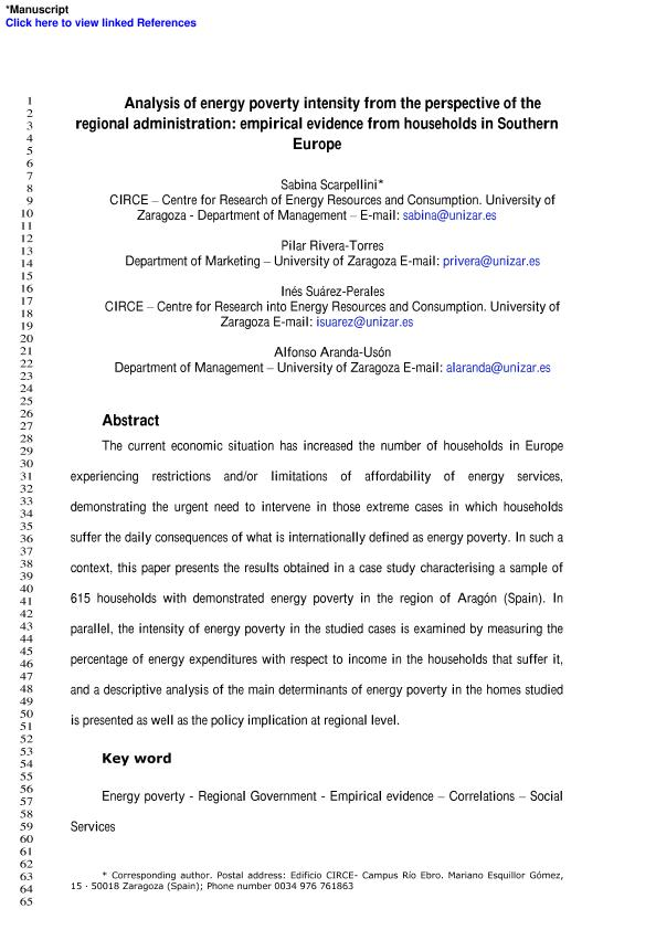 Analysis of energy poverty intensity from the perspective of the regional administration: Empirical evidence from households in southern Europe