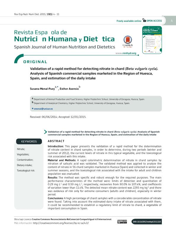 Validation of a rapid method for detecting nitrate in chard (Beta vulgaris cycla). Analysis of spanish commercial samples marketed in the region of huesca, spain, and estimation of the daily intake