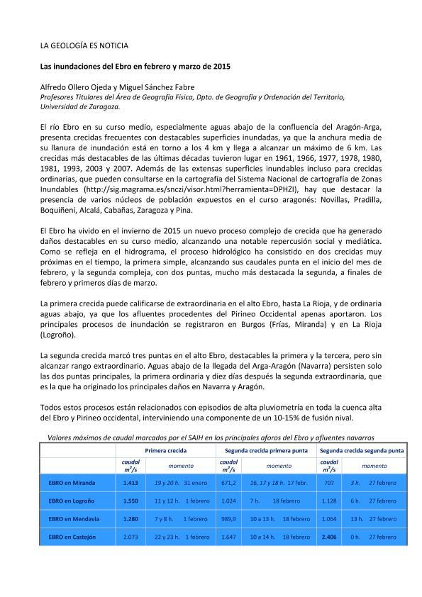Las inundaciones del Ebro en febrero y marzo de 2015