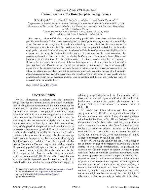 Casimir energies of self-similar plate configurations